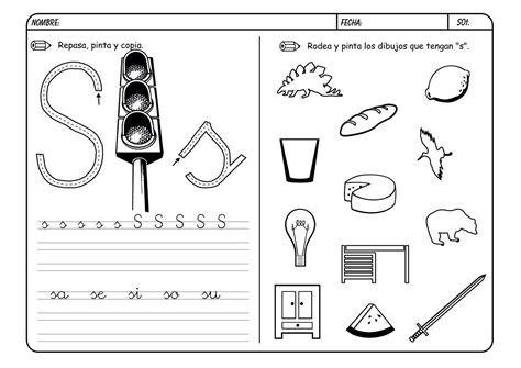 fichas de infantil y primaria lectoescritura con la letra s