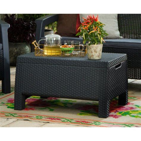 103 results for coffee table with storage. Keter Bahamas Wicker Patio Storage Coffee Table   Coffee ...