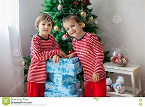 Two Sweet Children, Boy Brothers, Opening Presents Stock ...