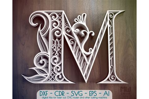 Free svg files for cricut, silhouette, glowforge, etc. Layered Letter M, Layered letters SVG, Multilayer Letters ...