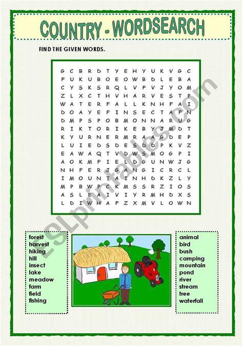 country wordsearch esl worksheet  macomabi