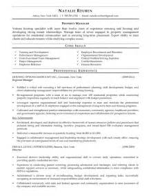 residential property manager resume residential property manager resume sles resume template exle