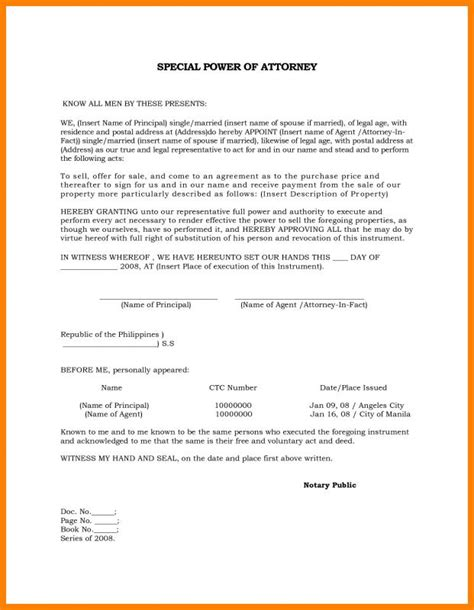 sample power  attorney template business