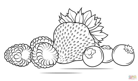 Strawberries, Raspberries And Blueberries Coloring Page