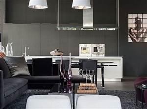 idee deco salon noir blanc gris maison design bahbecom With deco salon gris et noir