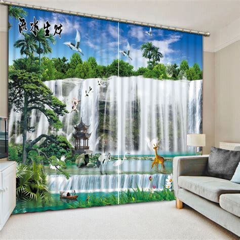 luxury curtains custom 3d curtains 3d landscape waterfall