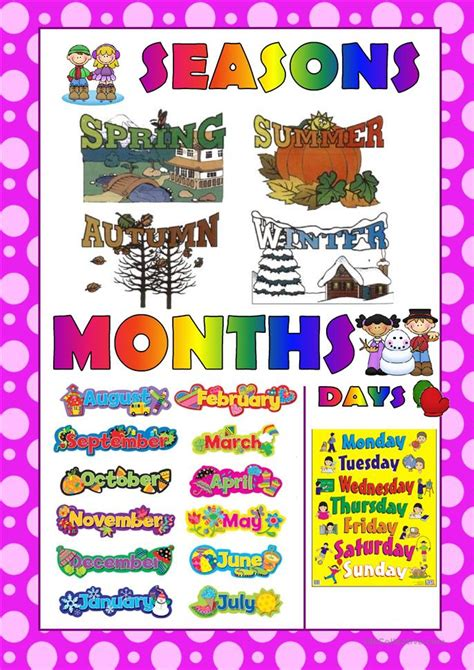 seasons months  days poster worksheet  esl