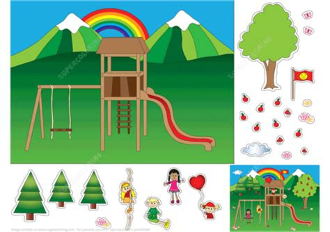 playground paper collage  printable papercraft templates