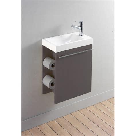 meuble lave mains distributeur papier toilette taupe planete bain