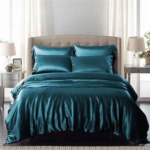 Teal, Silk, Bed, Linen, Is, Incredibly, Comfortable, And, Luxury