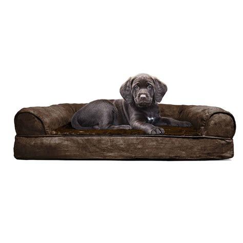 pet bed furhaven plush orthopedic sofa bed pet bed ebay