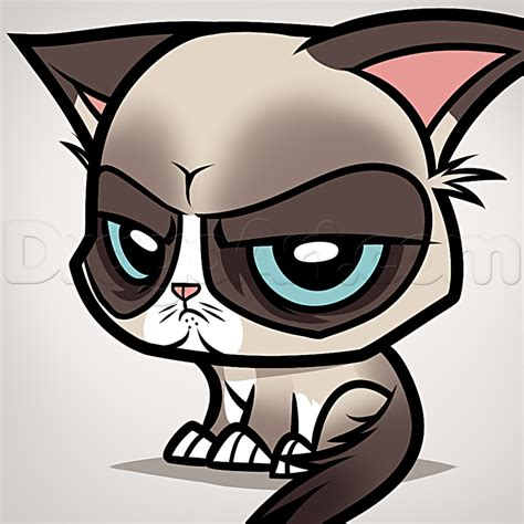 How To Draw Chibi Grumpy Cat, Step By Step, Chibis, Draw