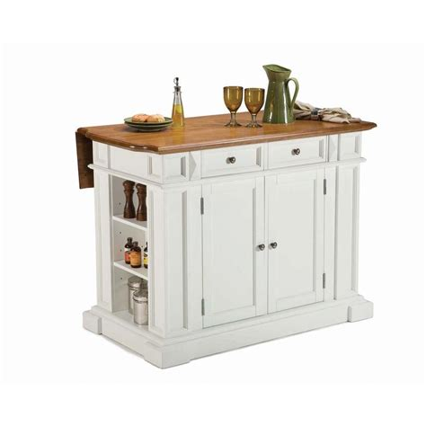 home styles americana white kitchen island  drop leaf