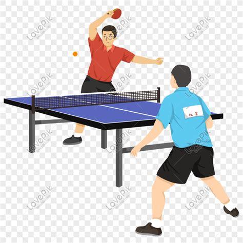 pertandingan tenis meja kartun angin datar yang ditarik