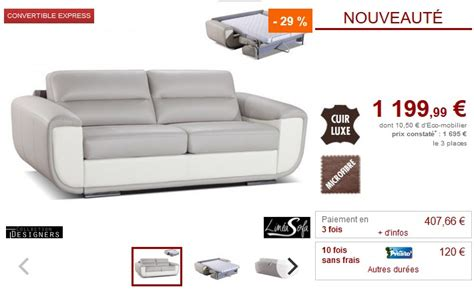 vente unique canap cuir canapé 3 places convertible express lavani cuir de