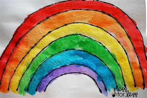 black glue and salt watercolor rainbow salt painting for 420 | rainbow activities1