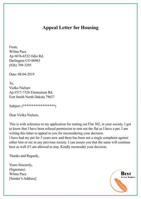 appeal letter template format sample