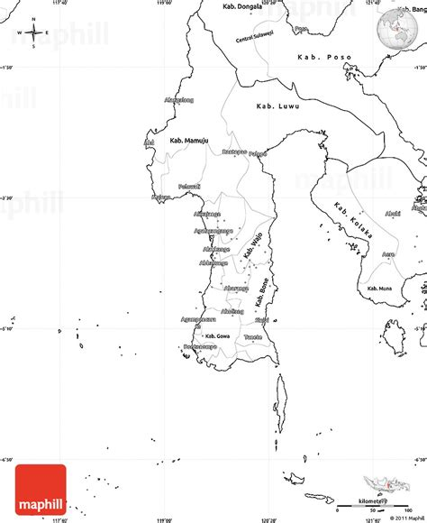blank simple map  south sulawesi