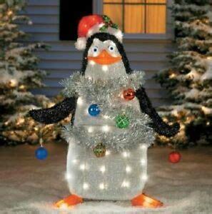 lighted pre lit tinsel madagascar penguin outdoor