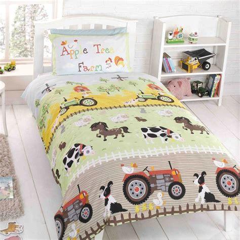 kids bedding  tractor farm kids duvet cover set