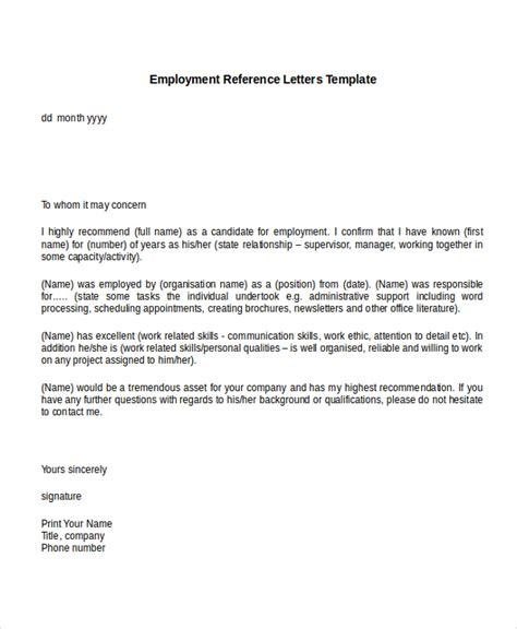 10 employment reference letter templates free sle