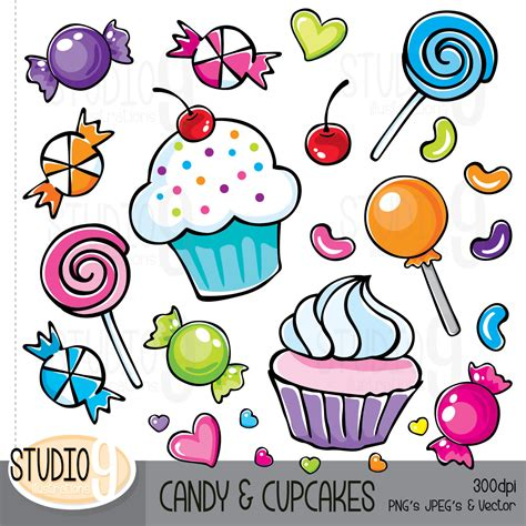 Candy & Cupcakes Clip Art Candy Clipart Cupcake Clipart