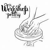 Wheel Pottery Potters Hands Poster Mechanical Studio Depositphotos Cartoon Vector sketch template