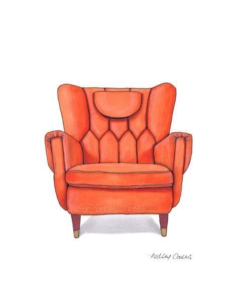 mid century modern chair drawing orange nectarine 8x10