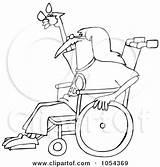 Hippie Wheelchair Outline Clip Clipart Djart Royalty Vector Illustration Senior Bald Sitting Clipartof sketch template