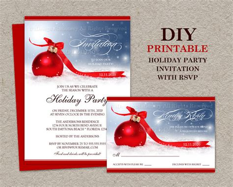 items similar to christmas party invitation with rsvp card