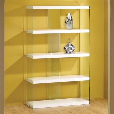 white glass display cabinet bookcase floating shelves