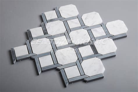 carrara and blue marble octagon mosaic bathroom floor
