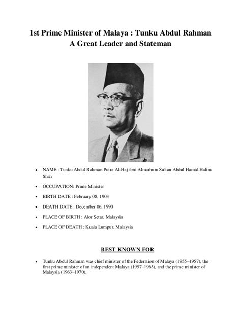 1st prime minister of malaya