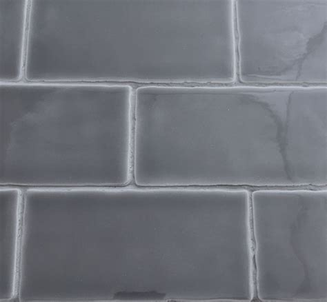 dark gray glossy subway ceramic tile