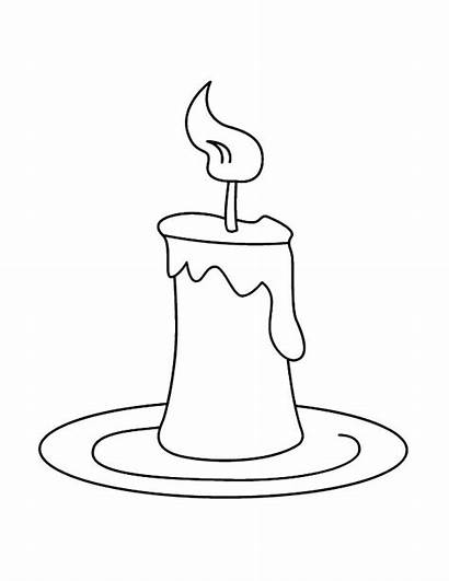 Candle Coloring Pages Plate Birthday Printable Candles