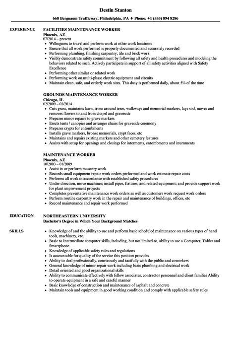 Resume For Maintenance Worker by Sle Maintenance Resume Bijeefopijburg Nl