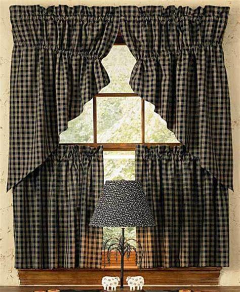 Black Sturbridge Lined Gathered Window Curtain Swags