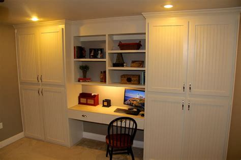 Built In Desk Cabinets by Custom Built In Cabinets With Desk Traditional Home Office