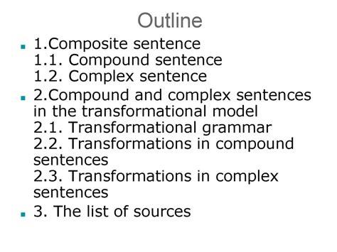 compound  complex sentences   transformational