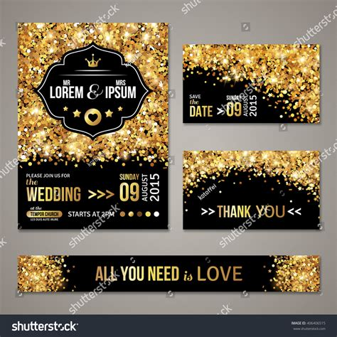 Set Wedding Invitation Cards Design Gold Stock Vector