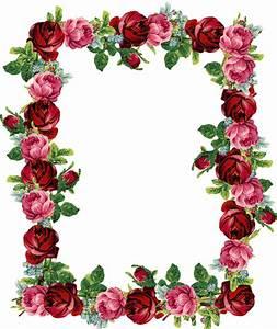 Free digital vintage rose frame and border png ...