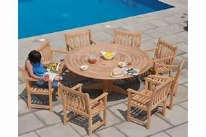 Table Jardin En Bois : table de jardin ronde en bois d 145 cm et 175 cm haut de gamme la galerie du teck ~ Dode.kayakingforconservation.com Idées de Décoration