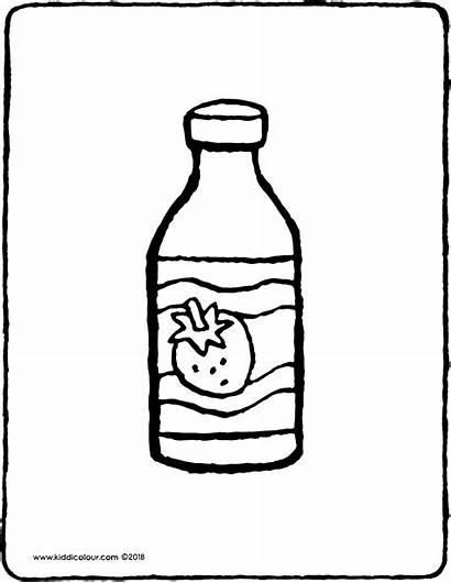 Yogurt Bottle Drinking Drawing Colouring Coloring Kiddicolour