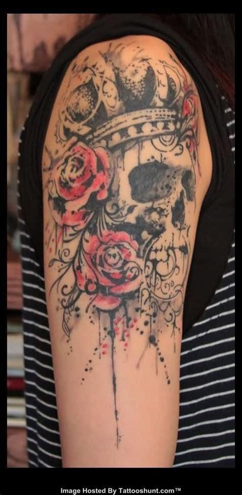red flowers  skull tattoo  shoulder tattoomagz