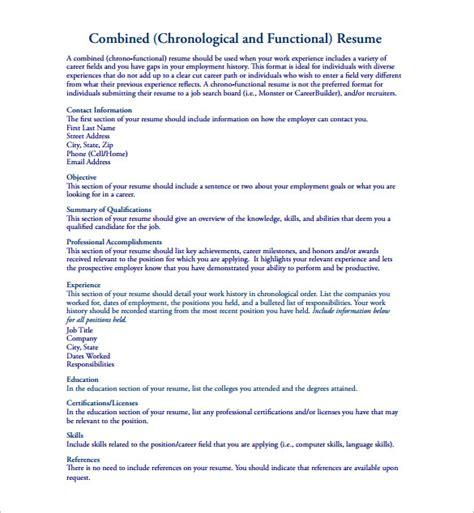Chronological Functional Resume Hybrid by Chronological Order Exle Resume