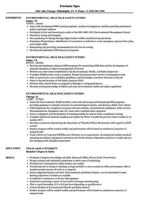 environmental health safety intern resume sles