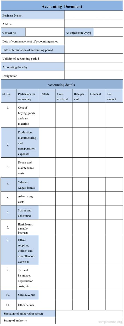 accounting templates free accounting form sle forms