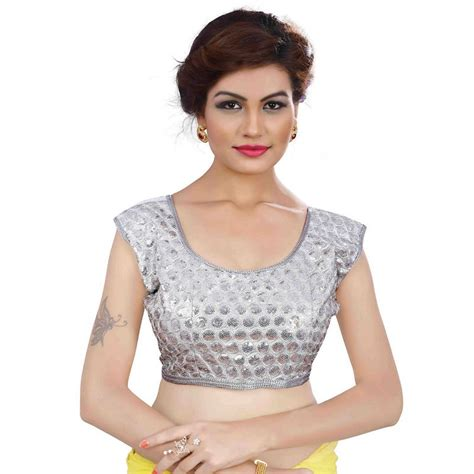 silver blouse buy silver cotton embroidered stitched readymade blouse