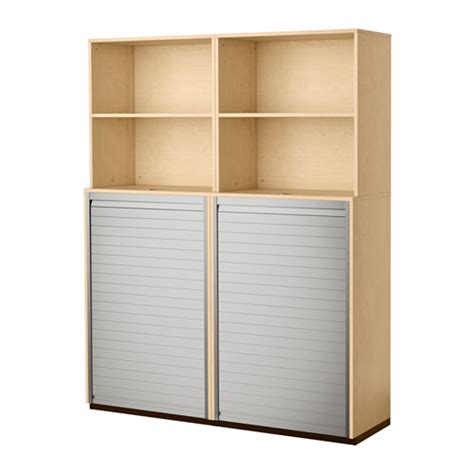 galant storage combination with roll front birch veneer