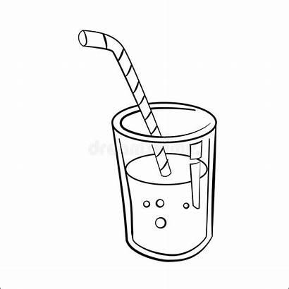 Juice Cartoon Glass Drawn Coloring Line Sketch